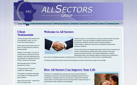 Screenshot of Home Page allsectors.co.za - All Sectors Group - Home - captured Feb. 5, 2016