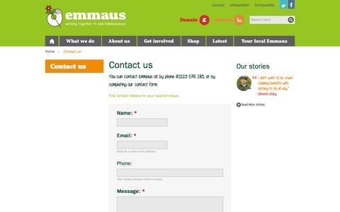 Screenshot of Contact Page emmaus.org.uk - Contact Us - Homelessness Charity - Emmaus UK - captured Oct. 2, 2014