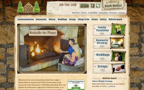 Screenshot of Home Page pmlodge.net - Pere Marquette Lodge & Conference Center - Grafton, Illinois — The perfect getaway for families, weddings and business retreats near  St. Louis Missouri. - captured Oct. 2, 2014