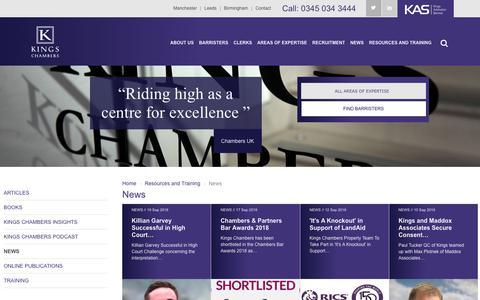 Screenshot of Press Page kingschambers.com - Kings Chambers | News - captured Sept. 20, 2018