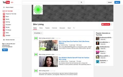 Screenshot of YouTube Page youtube.com - Silvr Lining  - YouTube - captured Oct. 25, 2014