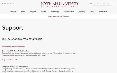 Screenshot of Support Page roseman.edu - Support | Roseman.edu - captured Dec. 13, 2018