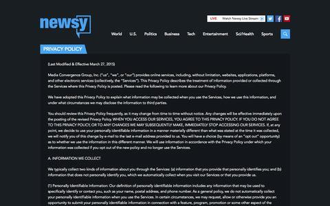 Screenshot of Privacy Page newsy.com - Privacy Policy | Multisource Video News Analysis | Newsy - captured Nov. 10, 2015