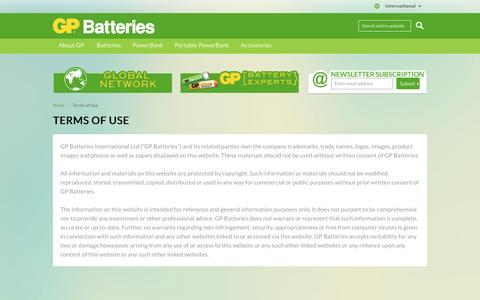 Screenshot of Terms Page gpbatteries.com - GP Batteries -  Terms of Use - captured Jan. 24, 2016