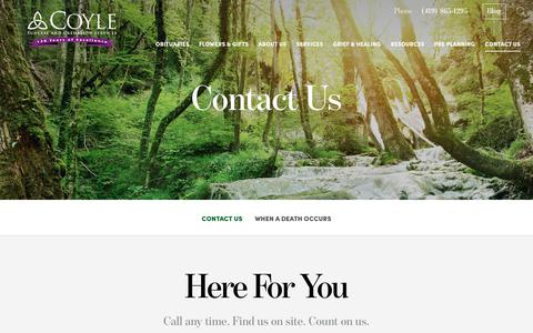 Screenshot of Contact Page coylefuneralhome.com - Contact Us | Coyle Funeral and Cremation Services, OH - captured Nov. 5, 2018