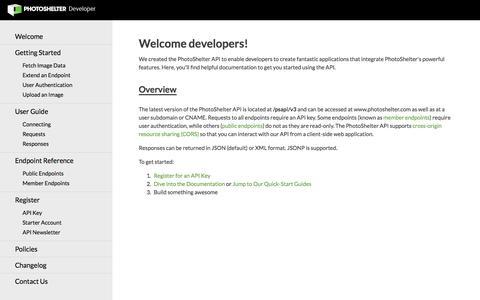 Screenshot of Developers Page photoshelter.com - Welcome | PhotoShelter Developer - captured Oct. 10, 2014