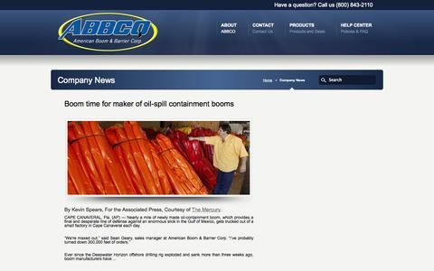 Screenshot of Press Page abbcoboom.com - News | ABBCO- American Boom and Barrier Corp. - captured Oct. 4, 2014