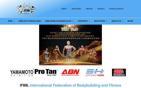 Screenshot of Home Page ifbb.com - IFBB | International Federation of Bodybuilding and Fitness - captured July 26, 2018