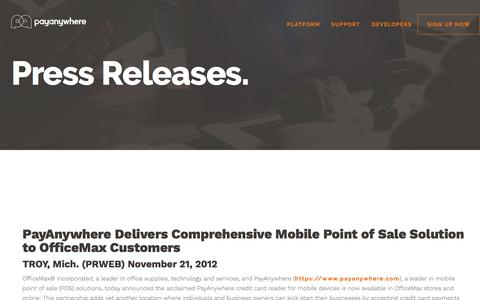 Screenshot of Press Page payanywhere.com - PayAnywhere Delivers Comprehensive Mobile Point of Sale Solution to OfficeMax Customers | PayAnywhere - captured Sept. 21, 2018