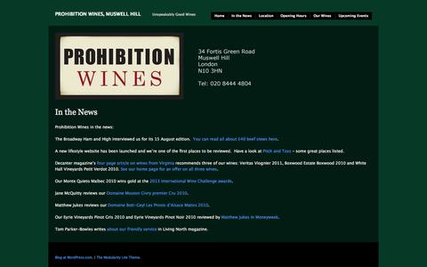 Screenshot of Press Page prohibitionwines.com - In the News | Prohibition Wines, Muswell Hill - captured Sept. 30, 2014