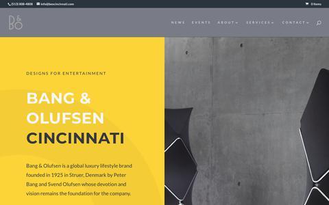 Screenshot of Home Page beocincinnati.com - BANG & OLUFSEN Cincinnati | Designs for Entertainment - captured Oct. 5, 2018