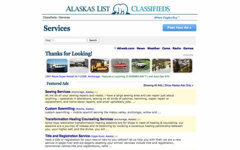 Screenshot of Services Page alaskaslist.com - Alaska's List          :   Services - captured July 2, 2017