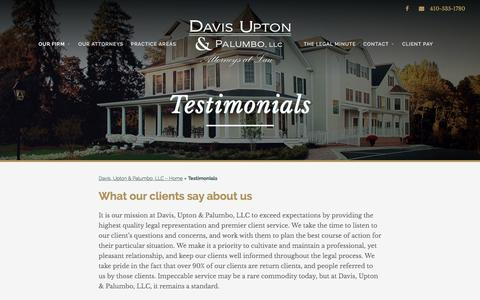 Screenshot of Testimonials Page davisupton.com - Testimonials • Davis Upton & Palumbo, LLC • Attorneys at Law - captured Nov. 24, 2016
