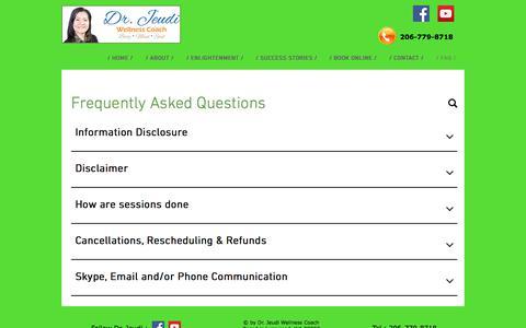 Screenshot of FAQ Page drjeudi.com - FAQ Dr. Jeudi Wellness Coach - captured Nov. 26, 2017