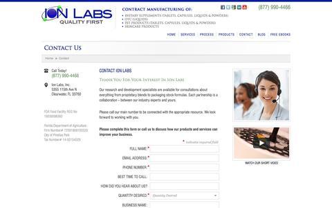 Screenshot of ionlabs.com - Contact Us - Ion Labs - captured Oct. 4, 2015