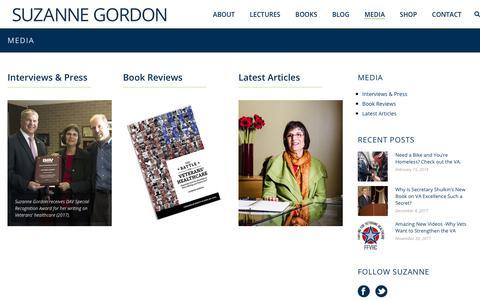 Screenshot of Press Page suzannecgordon.com - Media - Suzanne Gordon - captured Feb. 18, 2018