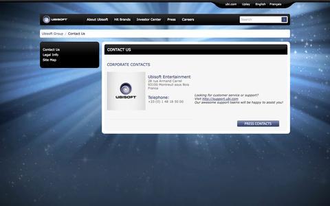 Screenshot of Contact Page ubisoftgroup.com - Contact Us | Ubisoft Group - captured Sept. 23, 2014