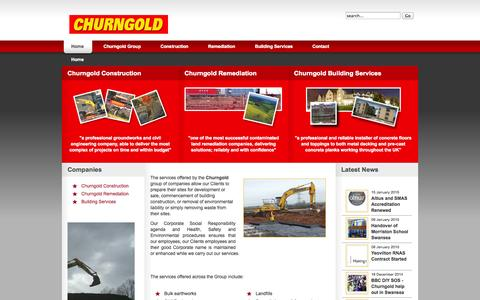 Screenshot of Home Page churngold.com - Churngold Group - Construction, Recycling, Remediation, Surfacing and Building Services - captured Jan. 23, 2015