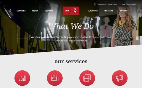Screenshot of Services Page oneproductions.com - Our Range of Video Production Services | One Productions - captured Oct. 18, 2018