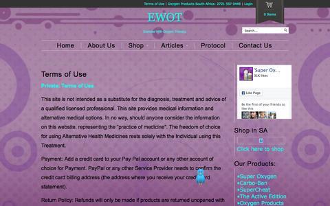 Screenshot of Terms Page ewot.co.za - Terms of Use - EWOTEWOT - captured April 5, 2016