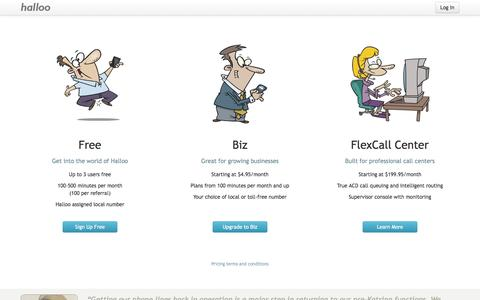 Screenshot of Pricing Page halloo.com - Halloo - Choosing the right plan is as easy as 1-2-3 - captured Sept. 19, 2014
