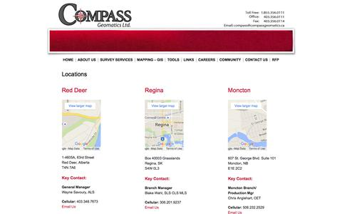 Screenshot of Contact Page Locations Page compassgeomatics.ca - Locations | Compass Geomatics Professional Surveying & Mapping Company  Calgary, Alberta - captured Jan. 30, 2016