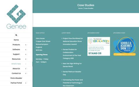 Screenshot of Case Studies Page geneeworld.com - Case Studies - Genee World - captured Dec. 7, 2018