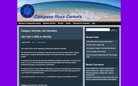 Screenshot of Blog compassrosecareers.com - Job Interviews | Compass Rose Careers - captured Sept. 30, 2014