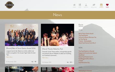 Screenshot of Press Page foodfreaks.ch - News - FoodFreaks - captured Feb. 10, 2016