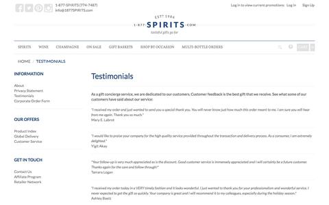 Screenshot of Testimonials Page 1-877-spirits.com - 1-877-SPIRITS.com - captured June 29, 2017