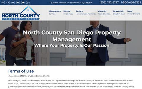 Screenshot of Terms Page ncpropertygroup.com - Terms Of Use - captured Sept. 23, 2018