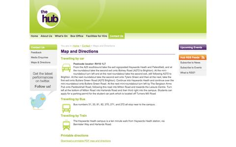 Screenshot of Maps & Directions Page hubtheatre.co.uk - Maps and Directions | Contact Us | The Hub Theatre - Haywards Heath, West Sussex | Professional Theatre & Dance Studios - captured June 10, 2016
