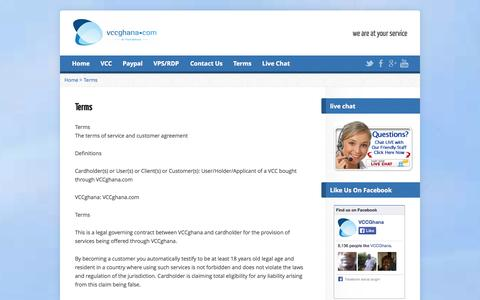 Screenshot of Terms Page vccghana.com - Terms | welcome to vccghana - captured Sept. 19, 2014
