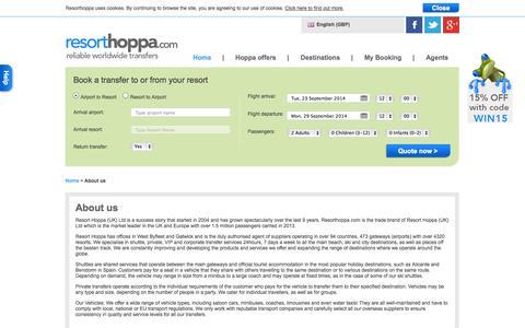 Screenshot of About Page resorthoppa.com - About Us | Resorthoppa.com - captured Sept. 22, 2014