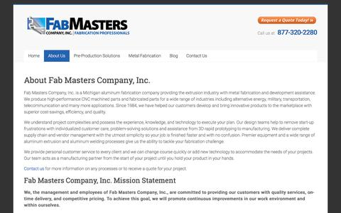 Screenshot of About Page fabmasters.net - About Fab Masters Company, Inc. - Fab Masters Company, Inc. - captured Oct. 13, 2017