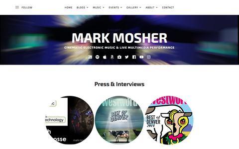 Screenshot of Press Page markmoshermusic.com - Press & Interviews – Mark Mosher - captured Jan. 17, 2018