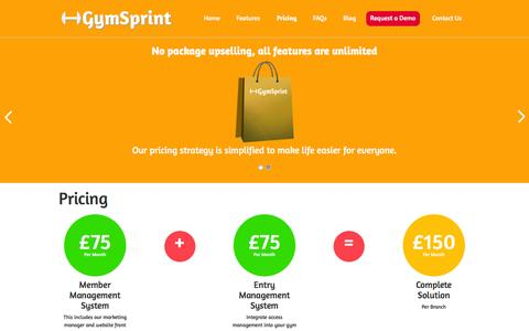 Screenshot of Pricing Page gymsprint.com - GymSprint - Pricing - captured March 8, 2016