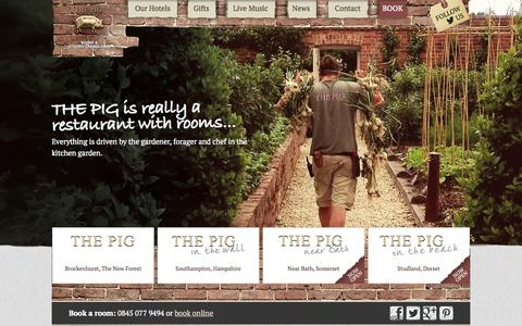 Screenshot of Home Page thepighotel.com - THE PIG, Restaurants with Rooms in the South of England - captured Sept. 22, 2014