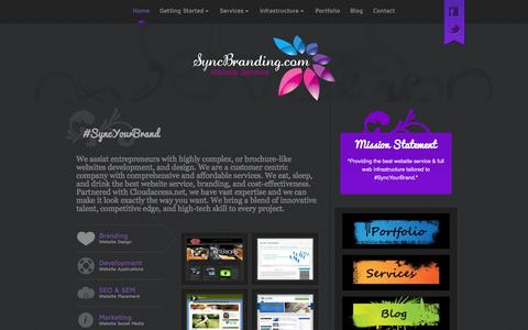 Screenshot of Home Page syncbranding.com - Sync Your Brand | SyncBranding | Website Services - captured Sept. 30, 2014