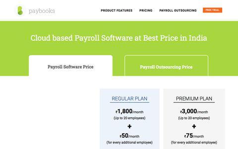 Screenshot of Pricing Page paybooks.in - Paybooks HR & Payroll Software Price | Low Cost Payroll Software - captured Feb. 11, 2020