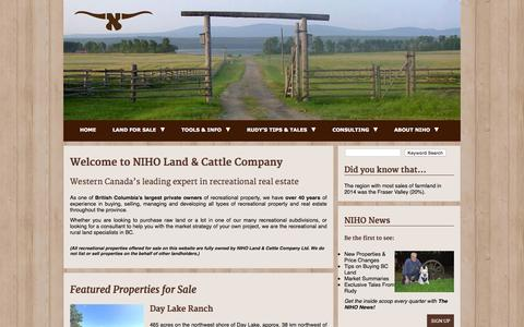 Screenshot of Home Page niho.com - Home - Welcome to NIHO Land & Cattle Company Ltd. - captured June 18, 2015