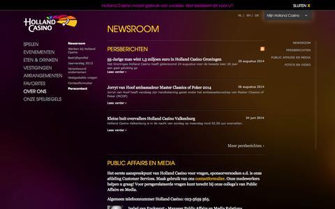 Screenshot of Press Page hollandcasino.nl - Newsroom | Holland Casino - captured Sept. 19, 2014
