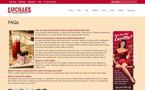 Screenshot of FAQ Page lucillesbloodymarymix.com - FAQs - Lucille's Bloody Mary Mix - captured Sept. 30, 2014