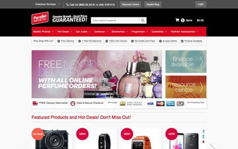 Screenshot of Home Page parallelimported.co.nz - Mobile Phones, Digital Cameras - Fast, Free Delivery - Parallel Imported - Parallel Imported - captured Sept. 24, 2014