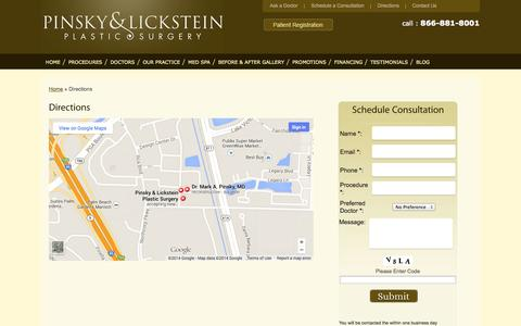 Screenshot of Maps & Directions Page pinskylickstein.com - Directions - captured Oct. 2, 2014