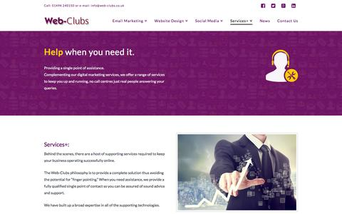 Screenshot of Services Page web-clubs.co.uk - Services+ - Web-Clubs - captured Jan. 10, 2016