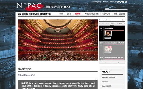 Screenshot of Jobs Page njpac.org - New Jersey Performing Arts Center :: Careers - captured Sept. 18, 2014