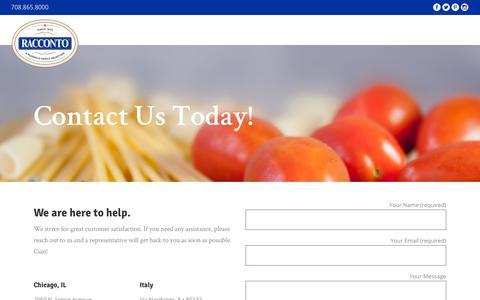 Screenshot of Contact Page racconto.com - Contact Us Today! – Racconto Italian Foods - captured Nov. 18, 2018