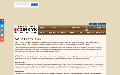 Screenshot of Privacy Page corkyspest.com - Corky's Pest Control: Privacy Policy - captured July 29, 2017