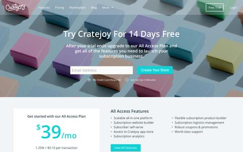 Screenshot of Pricing Page cratejoy.com - Cratejoy Pricing - Start a Subscription Website - captured April 21, 2016